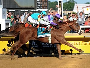I'll Have Another wins the Preakness Stakes.