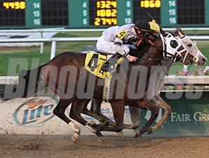 Exfactor (gray) gets his nose in front of Laurie's Rocket in the Sugar Bowl Stakes..