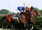 Keertana (rail) takes the Louisville Handicap by a nose over Bearpath (outside) and Guys Reward.