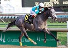 On Fire Baby won two grade II stakes at the 2011 Churchill Downs fall meet, including the Golden Rod (shown).