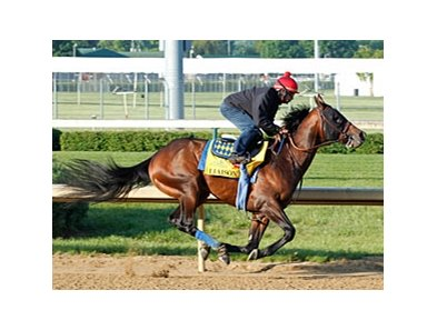 Liaison worked six furlongs in 1:12 4/5 under jockey Shaun Bridgmohan at Churchill Downs April 25.