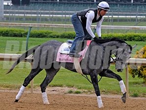 Beautician works at Churchill Downs on April 22, 2010.