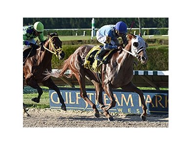 "East Hall leaves Wildcat Red behind in the Millions Classic Preview.<br><a target=""blank"" href=""http://photos.bloodhorse.com/AtTheRaces-1/At-the-Races-2014/i-zS2Xk2P"">Order This Photo</a>"