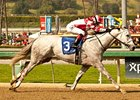 Joyful Victory rolls home in the Santa Margarita Stakes.