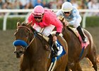 "St Trinians comes home in front of Life Is Sweet to win the Santa Maria Stakes.<br><a target=""blank"" href=""http://www.bloodhorse.com/horse-racing/photo-store?ref=http%3A%2F%2Fpictopia.com%2Fperl%2Fgal%3Fprovider_id%3D368%26ptp_photo_id%3D8792502%26ref%3Dstory"">Order This Photo</a>"