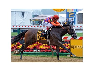 "Summer Applause comes home strong to win the Allaire DuPont Distaff Stakes.<br><a target=""blank"" href=""http://photos.bloodhorse.com/AtTheRaces-1/at-the-races-2013/27257665_QgCqdh#!i=2519351354&k=whzn3Pp"">Order This Photo</a>"