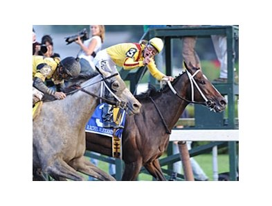 "Rachel Alexandra's Woodward victory was voted NYRA's 2009 ""Story of the Year."" <br><a target=""blank"" href=""http://www.bloodhorse.com/horse-racing/photo-store?ref=http%3A%2F%2Fpictopia.com%2Fperl%2Fgal%3Fprovider_id%3D368%26ptp_photo_id%3D8459938%26ref%3Dstory"">Order This Photo</a>"