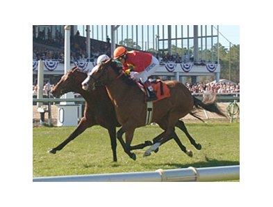 Karelian (right) holds off Gio Ponti to win the Tampa Bay Breeders' Cup.