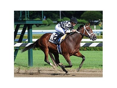 "Maybesomaybenot took the Sanford Stakes by 1 1/2 lengths at Saratoga.<br><a target=""blank"" href=""http://www.bloodhorse.com/horse-racing/photo-store?ref=http%3A%2F%2Fpictopia.com%2Fperl%2Fgal%3Fprovider_id%3D368%26ptp_photo_id%3D9117309%26ref%3Dstory"">Order This Photo</a>"