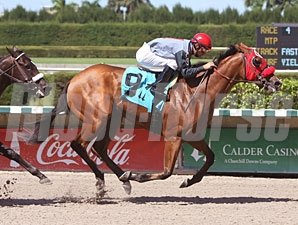 Uno Caliente wins the 2010 Birdonthewire Stakes.