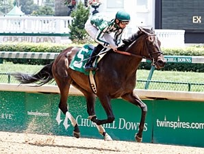 Ice Cream Silence wins the 2012 Optimistic Gal Stakes.