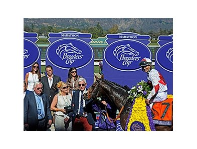 Mike Smith aboard London Bridge, his first of several wins at this weekend's Breeders' Cup.