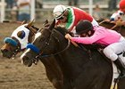 "Red Arrow (foreground) holds off Paul's Hope in the Los Angeles Handicap. <br><a target=""blank"" href=""http://www.bloodhorse.com/horse-racing/photo-store?ref=http%3A%2F%2Fgallery.pictopia.com%2Fbloodhorse%2Fgallery%2F69713%2Fphoto%2F8119261%2F%3Fo%3D0"">Order This Photo</a>"