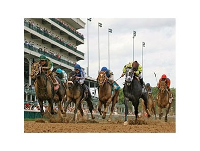 Pool Play, far left, wins the Stephen Foster at Churchill Downs, home of the 2011 Breeders' Cup.