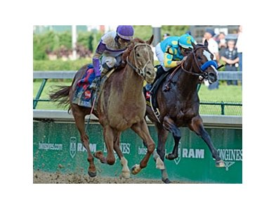 "Bodemeister (right) and I'll Have Another in the Kentucky Derby.<br><a target=""blank"" href=""http://photos.bloodhorse.com/TripleCrown/2012-Triple-Crown/Kentucky-Derby-138/22650475_kRGdZF#!i=1830913023&k=4tDtv3P"">Order This Photo</a>"