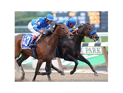 "Indian Blessing (inside) outfights Sara Louise to repeat in the Gallant Bloom. <br><a target=""blank"" href=""http://www.bloodhorse.com/horse-racing/photo-store?ref=http%3A%2F%2Fpictopia.com%2Fperl%2Fgal%3Fprovider_id%3D368%26ptp_photo_id%3D8510917%26ref%3Dstory"">Order This Photo</a>"