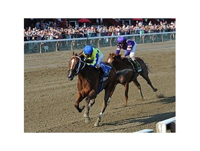 Escapefromreality runs away from Amberjack to win the Albany Stakes.