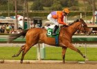 Beholder cruises to victory in the Las Virgenes Stakes at Santa Anita Park.