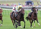"Lightening Pearl (left) takes control in the Jaguar Cars Cheveley Park Stakes.<br><a target=""blank"" href=""http://www.bloodhorse.com/horse-racing/photo-store?ref=http%3A%2F%2Fpictopia.com%2Fperl%2Fgal%3Fprovider_id%3D368%26ptp_photo_id%3D9679163%26ref%3Dstory"">Order This Photo</a>"