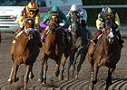 "Bsharpsonata (green silks, 2nd from left) moves between horses on her way to victory in the Davona Dale.<br><a target=""blank"" href=""http://www.bloodhorse.com/horse-racing/photo-store?ref=http%3A%2F%2Fpictopia.com%2Fperl%2Fgal%3Fprovider_id%3D368%26ptp_photo_id%3D3741925%26ref%3Dstory"">Order This Photo</a>"