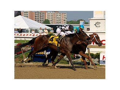 "Heart Ashley (inside) holds off a determined Cinderella's Wish to win the Adena Stallions Miss Preakness Stakes.<br><a target=""blank"" href=""http://www.bloodhorse.com/horse-racing/photo-store?ref=http%3A%2F%2Fpictopia.com%2Fperl%2Fgal%3Fprovider_id%3D368%26ptp_photo_id%3D8114693%26ref%3Dstory"">Order This Photo</a>"