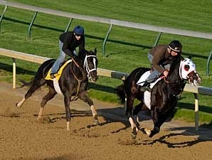 I Want Revenge (left) works at Churchill Downs on April 21