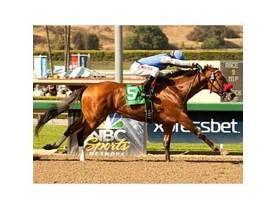 Goldencents comes home strong to win the Santa Anita Derby.