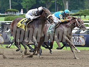 Big Trouble wins the 2014 Sanford Stakes at Saratoga.