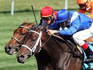 Alwajeeha (inside) gets her head down at the right time to take the Appalachian under John Velazquez.