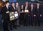 Winning connections of the 2014 Longines World's Best Racehorse Rankings, Just A Way, with (L-R) Mr. Yuichi Fukunaga, jockey, Mr. Naosuke Sugai, trainer, Longines Vice President and Head of International Marketing Mr. Juan-Carlos Capelli, Mr Akatsuki Yama