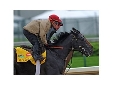 "Archarcharch on track at Churchill Downs on May 3.<br><a target=""blank"" href=""http://www.bloodhorse.com/horse-racing/photo-store?ref=http%3A%2F%2Fpictopia.com%2Fperl%2Fgal%3Fprovider_id%3D368%26ptp_photo_id%3D9512728%26ref%3Dstory"">Order This Photo</a>"