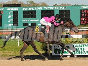 Diva Delite wins the 2010 Florida Oaks.
