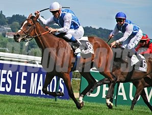 Galikova, front, beats stable mate Slow Pace, 2nd, in the Prix Guillaume D'Ornano.