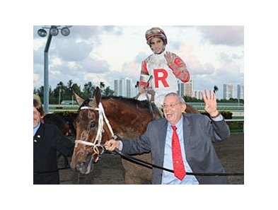 "Ken Ramsey leads Claiming Crown Jewel winner Parent's Honor to the Winners' Circle.<br><a target=""blank"" href=""http://photos.bloodhorse.com/AtTheRaces-1/at-the-races-2012/22274956_jFd5jM#!i=2247845922&k=92BVcns"">Order This Photo</a>"