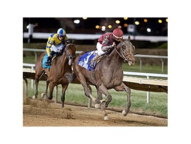 Last Gunfighter rallies to victory in the Hawthorne Gold Cup Handicap.