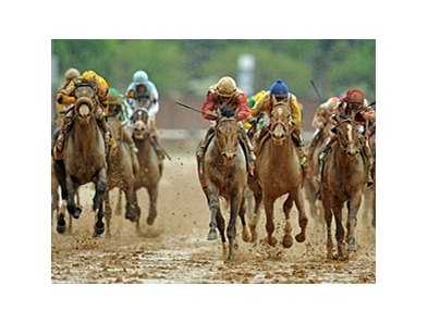 "Orb leads the way to victory in the Kentucky Derby.<br><a target=""blank"" href=""http://photos.bloodhorse.com/TripleCrown/2013-Triple-Crown/Kentucky-Derby-139/29213460_Rcqkd4#!i=2493218528&k=wLFcdHX"">Order This Photo</a>"
