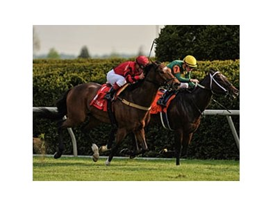 "Perfect Officer (left) catches Great Mills late to win the Shakertown.<br><a target=""blank"" href=""http://photos.bloodhorse.com/AtTheRaces-1/at-the-races-2012/22274956_jFd5jM#!i=1794625678&k=GSfdw3D"">Order This Photo</a>"