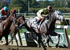 Graydar is in control at the finish of the Kelso Handicap.