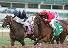 Karelian (right) and Demarcation head to a dead-heat in the River City Handicap