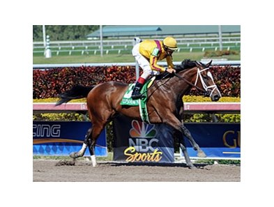 "Dreaming of Julia romps in the Gulfstream Oaks.<br><a target=""blank"" href=""http://photos.bloodhorse.com/AtTheRaces-1/at-the-races-2013/27257665_QgCqdh#!i=2433032331&k=RP5RPLC"">Order This Photo</a>"