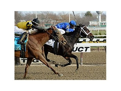 "Wedding Toast holds off Toasting to win the Comely Stakes. <br><a target=""blank"" href=""http://photos.bloodhorse.com/AtTheRaces-1/at-the-races-2013/27257665_QgCqdh#!i=2940058517&k=KGZrJQN"">Order This Photo</a>"