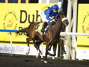 Wedding Ring wins the 2014 UAE 1000 Guineas Trial.