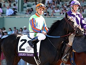 Golden Ticket with Joel Rosario up during the post parade prior to finishing 2nd in the 2013 Breeders' Cup Dirt Mile.