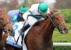 Angel Terrace won the first division of the Pin Oak Valley View Stakes by a nose.