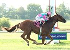 Cloudy's Knight and Rosemary Homeister Jr pull away in the Kentucky Cup Turf.