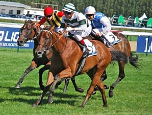 Immortal Verse (green/white silks) wins the Prix Jacques Le Marois, upsetting Goldikova (blue/white silks).