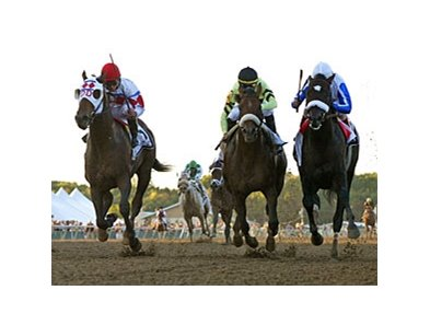 Morning Line (right) takes the Pennsylvania Derby over First Dude (left) and A Little Warm.
