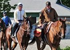 "Tale Of Ekati heads to the Belmont Park main track escorted by 2003 Kentucky Derby winner Funny Cide.<br><a target=""blank"" href=""http://www.bloodhorse.com/horse-racing/photo-store?ref=http%3A%2F%2Fpictopia.com%2Fperl%2Fgal%3Fprovider_id%3D368%26ptp_photo_id%3D4653383%0D%0A%26ref%3Dstory"">Order This Photo</a>"