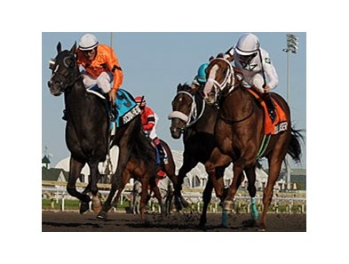 Blue Laser (right) leads a field of 10 in the Delta Downs Jackpot.