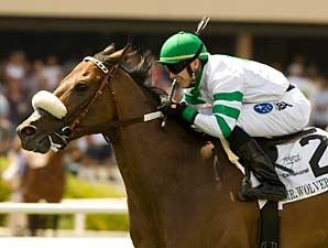 Mr. Wolverine scores a 1 3/4-length victory in the TVG Khaled Stakes at Hollywood Park April 27.